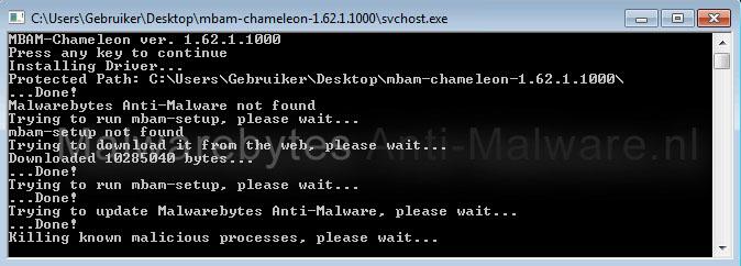 Malwarebytes Anti-malware Chameleon Commandprompt