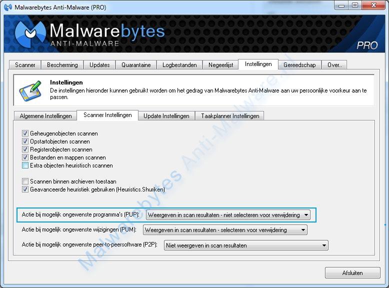 Malwarebytes vindt PUPs wat nu?