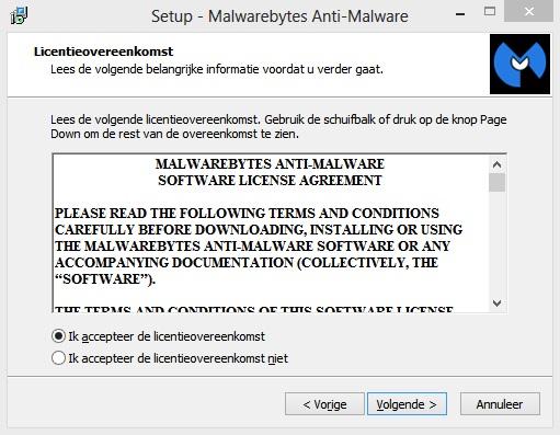 Malwarebytes Anti-Malware-licentievenster