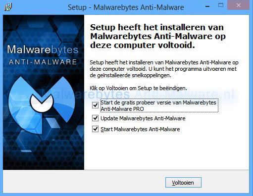 Malwarebytes Anti-Malware installatie gereed