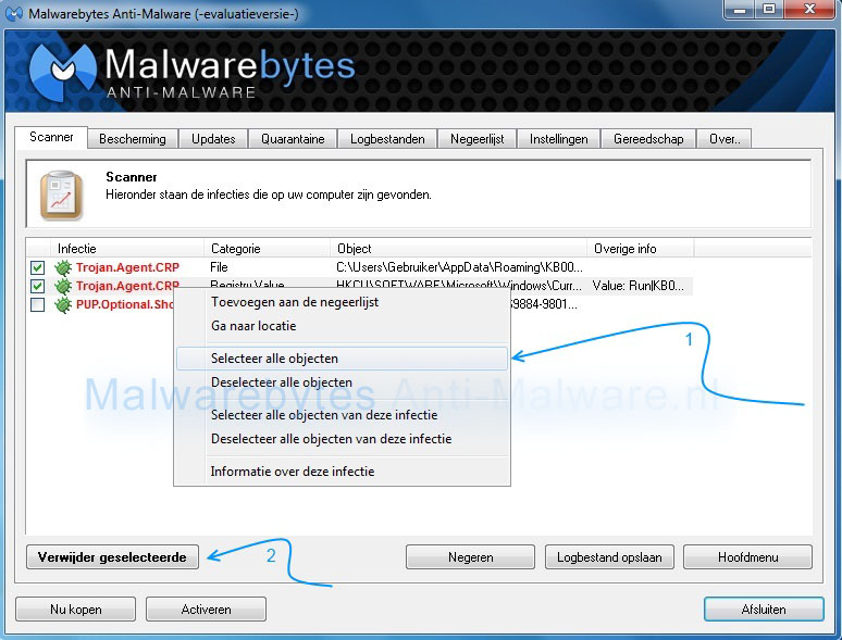 Politie virus verwijderen met Malwarebytes