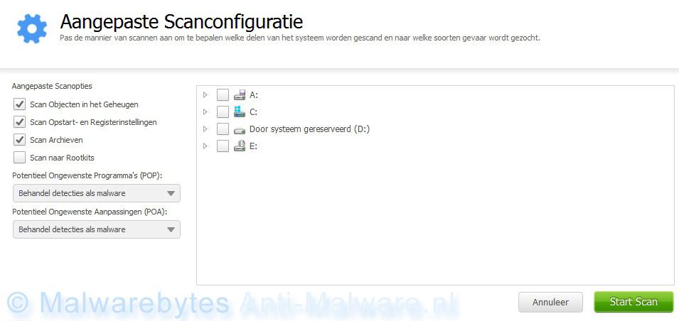 Malwarebytes Anti-Malware aangepaste scan