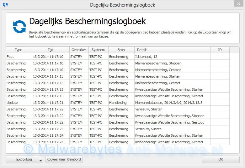 Malwarebytes Anti-Malware beschermingslogboek