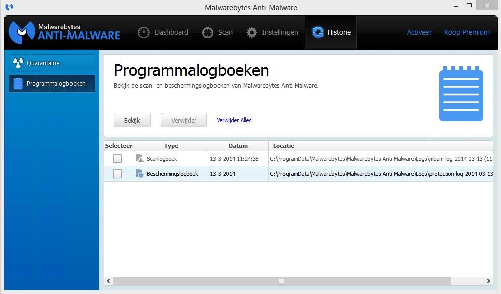 Malwarebytes Anti-Malware programmalogboeken