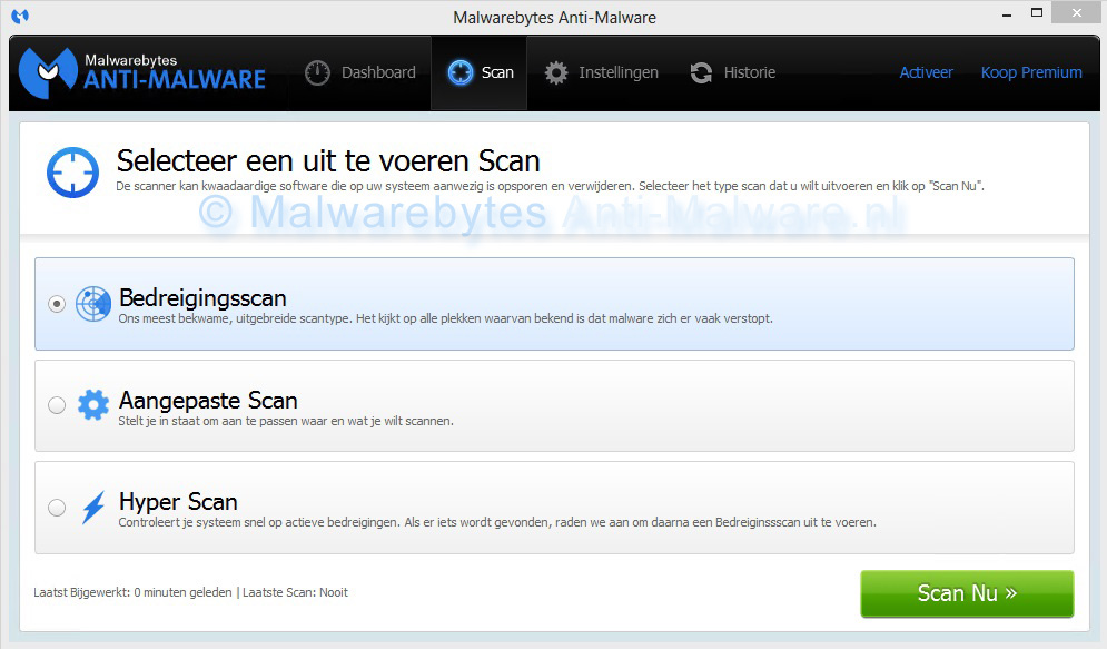 Malwarebytes Anti-Malware scan-opties