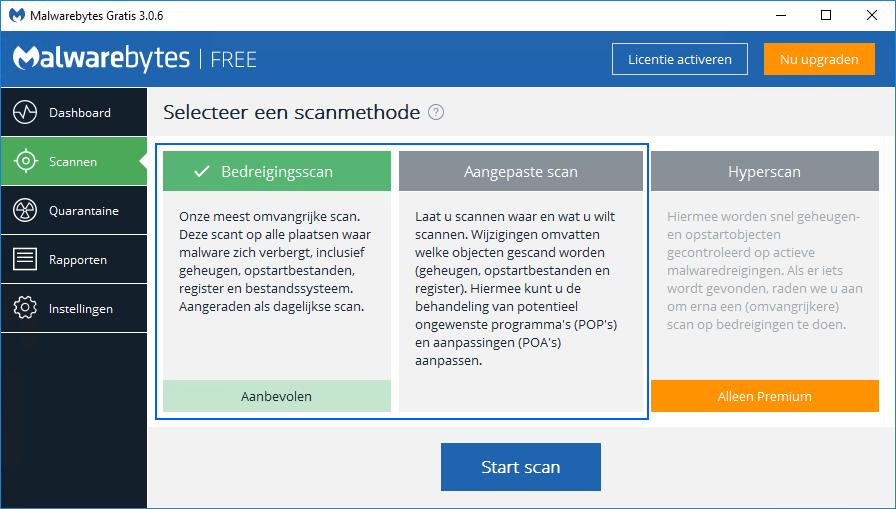 Scannen met Malwarebytes Free